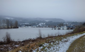 What remains of yesterday's snow - looking back at the marina where I live.